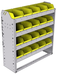 "22-3136-4 Square back bin shelf unit 34.5""Wide x 11.5""Deep x 36""High with 4 shelves"