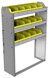 "22-3148-3 Square back bin shelf unit 34.5""Wide x 11.5""Deep x 48""High with 3 shelves"