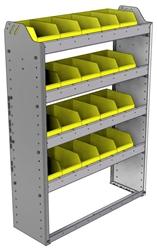 "22-3148-4 Square back bin shelf unit 34.5""Wide x 11.5""Deep x 48""High with 4 shelves"