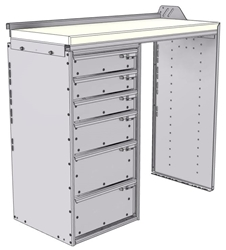 "18-4836-LD Workbench 43""Wide x 18.5""Deep x 36""high with a 6 Drawer unit on Left hand side"