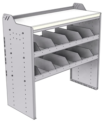 """18-4842-4W Workbench 43""""Wide x 18.5""""Deep x 42""""high with 2 high divider shelves and a 1.5"""" thick hardwood worktop"""