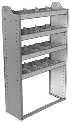 "20-3358-4 Square back shelf unit 36""Wide x 13.5""Deep x 58""High with 4 shelves"