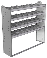 "20-6558-4 Square back shelf unit 60""Wide x 15.5""Deep x 58""High with 4 shelves"