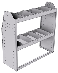 "21-3336-2 Profiled back shelf unit 36""Wide x 13.5""Deep x 36""High with 2 shelves"