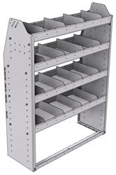"21-3348-4 Profiled back shelf unit 36""Wide x 13.5""Deep x 48""High with 4 shelves"