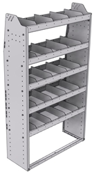 "21-3363-5 Profiled back shelf unit 36""Wide x 13.5""Deep x 63""High with 5 shelves"