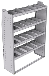 "21-4563-4 Profiled back shelf unit 48""Wide x 15.5""Deep x 63""High with 4 shelves"