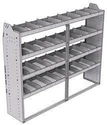 "21-7558-4 Profiled back shelf unit 72""Wide x 15.5""Deep x 58""High with 4 shelves"