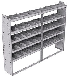 "21-8363-5 Profiled back shelf unit 84""Wide x 13.5""Deep x 63""High with 5 shelves"
