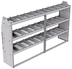 "21-8548-3 Profiled back shelf unit 84""Wide x 15.5""Deep x 48""High with 3 shelves"