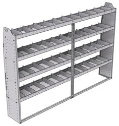 "21-9363-4 Profiled back shelf unit 96""Wide x 13.5""Deep x 63""High with 4 shelves"