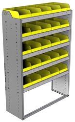 "22-4563-5 Square back bin shelf unit 43""Wide x 15.5""Deep x 63""High with 5 shelves"