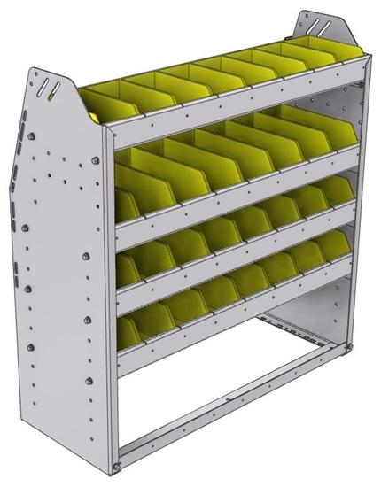 "23-3336-4 Profiled back bin shelf unit 34.5""Wide x 13.5""Deep x 36""High with 4 shelves"