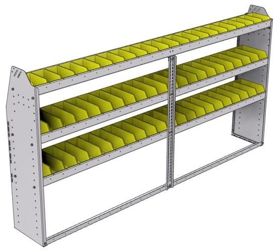 "23-9348-3 Profiled back bin shelf unit 94""Wide x 13.5""Deep x 48""High with 3 shelves"