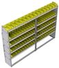 "23-9363-5 Profiled back bin shelf unit 94""Wide x 13.5""Deep x 63""High with 5 shelves"