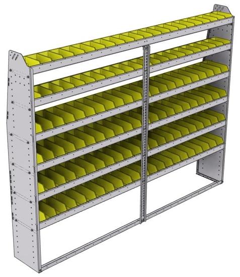"23-9372-6 Profiled back bin shelf unit 94""Wide x 13.5""Deep x 72""High with 6 shelves"