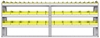 "23-9536-3 Profiled back bin shelf unit 94""Wide x 15.5""Deep x 36""High with 3 shelves"