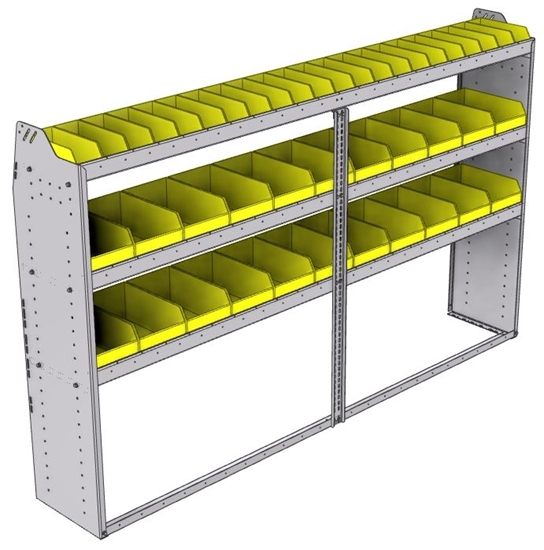 "23-9558-3 Profiled back bin shelf unit 94""Wide x 15.5""Deep x 58""High with 3 shelves"