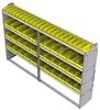 "23-9558-4 Profiled back bin shelf unit 94""Wide x 15.5""Deep x 58""High with 4 shelves"