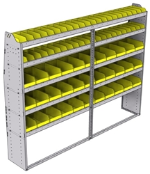 "23-9572-5 Profiled back bin shelf unit 94""Wide x 15.5""Deep x 72""High with 5 shelves"
