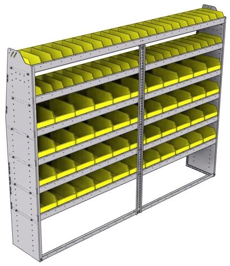 "23-9572-6 Profiled back bin shelf unit 94""Wide x 15.5""Deep x 72""High with 6 shelves"