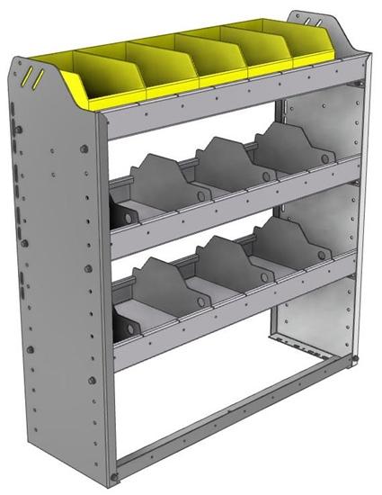 "24-3136-3 Square back bin separator combo shelf unit 34.5""Wide x 11.5""Deep x 36""High with 3 shelves"
