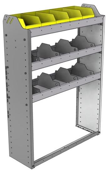 "24-3148-3 Square back bin separator combo shelf unit 34.5""Wide x 11.5""Deep x 48""High with 3 shelves"