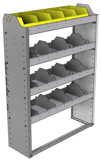 "24-3148-4 Square back bin separator combo shelf unit 34.5""Wide x 11.5""Deep x 48""High with 4 shelves"