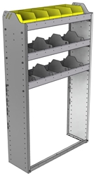 "24-3158-3 Square back bin separator combo shelf unit 34.5""Wide x 11.5""Deep x 58""High with 3 shelves"