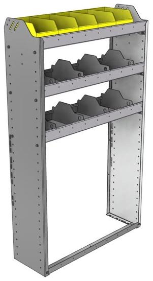 "24-3158-3 Square back bin separator combo shelf unit 34.5""Wide x 11.5""Deep x 58""High with 3 shelves"