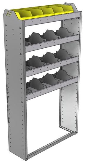"24-3163-4 Square back bin separator combo shelf unit 34.5""Wide x 11.5""Deep x 63""High with 4 shelves"