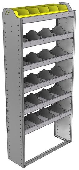 "24-3172-6 Square back bin separator combo shelf unit 34.5""Wide x 11.5""Deep x 72""High with 6 shelves"