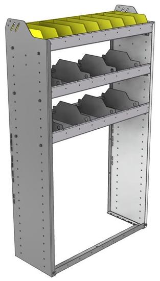 "24-3358-3 Square back bin separator combo shelf unit 34.5""Wide x 13.5""Deep x 58""High with 3 shelves"