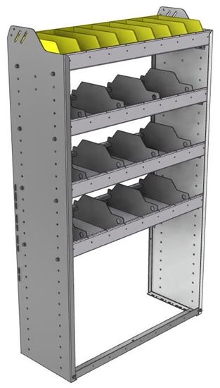"24-3358-4 Square back bin separator combo shelf unit 34.5""Wide x 13.5""Deep x 58""High with 4 shelves"