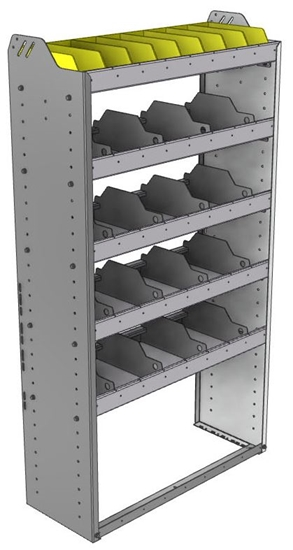 "24-3363-5 Square back bin separator combo shelf unit 34.5""Wide x 13.5""Deep x 63""High with 5 shelves"