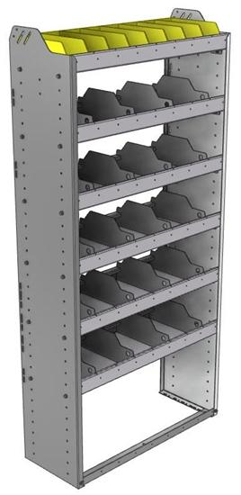 "24-3372-6 Square back bin separator combo shelf unit 34.5""Wide x 13.5""Deep x 72""High with 6 shelves"