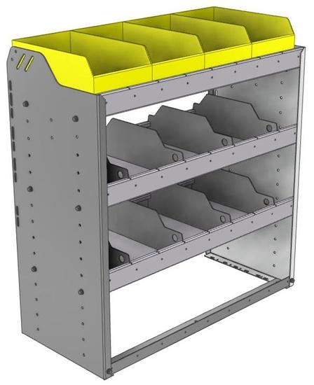 "24-3536-3 Square back bin separator combo shelf unit 34.5""Wide x 15.5""Deep x 36""High with 3 shelves"