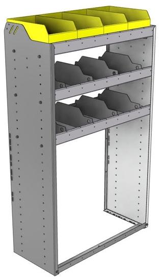 "24-3558-3 Square back bin separator combo shelf unit 34.5""Wide x 15.5""Deep x 58""High with 3 shelves"