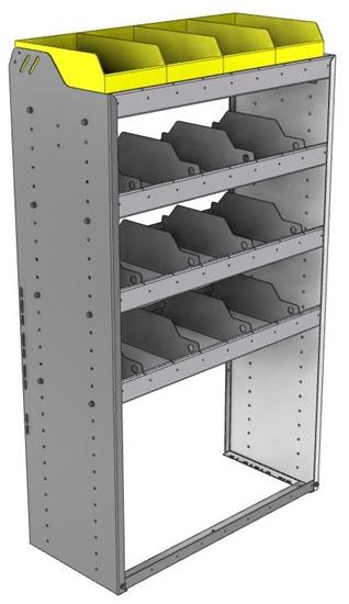 "24-3558-4 Square back bin separator combo shelf unit 34.5""Wide x 15.5""Deep x 58""High with 4 shelves"