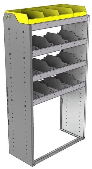 "24-3563-4 Square back bin separator combo shelf unit 34.5""Wide x 15.5""Deep x 63""High with 4 shelves"