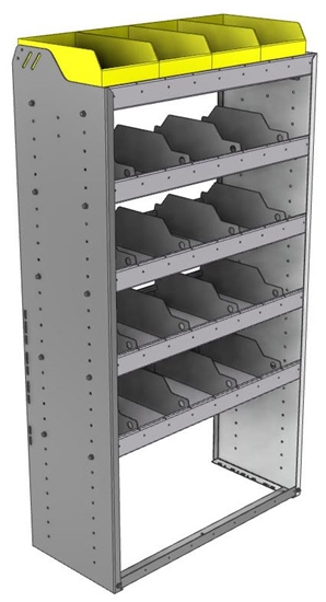 "24-3563-5 Square back bin separator combo shelf unit 34.5""Wide x 15.5""Deep x 63""High with 5 shelves"