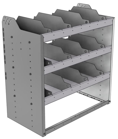 "24-3836-3 Square back bin separator combo shelf unit 34.5""Wide x 18.5""Deep x 36""High with 3 shelves"