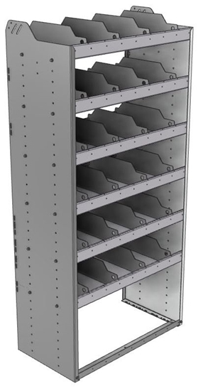 "24-3872-6 Square back bin separator combo shelf unit 34.5""Wide x 18.5""Deep x 72""High with 6 shelves"