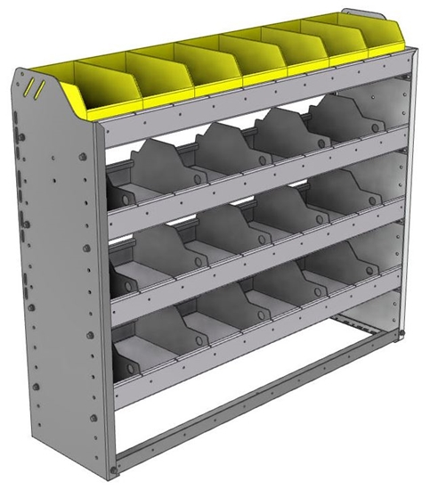 "24-4136-4 Square back bin separator combo shelf unit 43""Wide x 11.5""Deep x 36""High with 4 shelves"