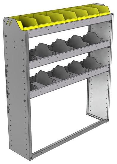 "24-4148-3 Square back bin separator combo shelf unit 43""Wide x 11.5""Deep x 48""High with 3 shelves"