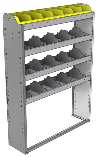 "24-4158-4 Square back bin separator combo shelf unit 43""Wide x 11.5""Deep x 58""High with 4 shelves"