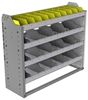"24-4336-4 Square back bin separator combo shelf unit 43""Wide x 13.5""Deep x 36""High with 4 shelves"