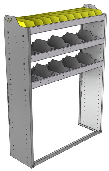 "24-4358-3 Square back bin separator combo shelf unit 43""Wide x 13.5""Deep x 58""High with 3 shelves"