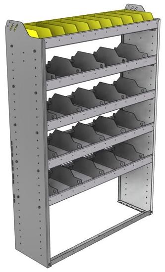"24-4363-5 Square back bin separator combo shelf unit 43""Wide x 13.5""Deep x 63""High with 5 shelves"