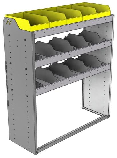 "24-4548-3 Square back bin separator combo shelf unit 43""Wide x 15.5""Deep x 48""High with 3 shelves"